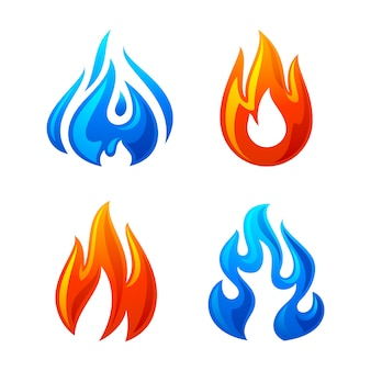 Llama de fuego 3d establecer icono sobre un fondo blanco