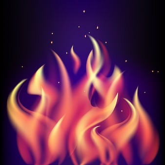 Llama de fuego ardiente rojo sobre fondo morado negro