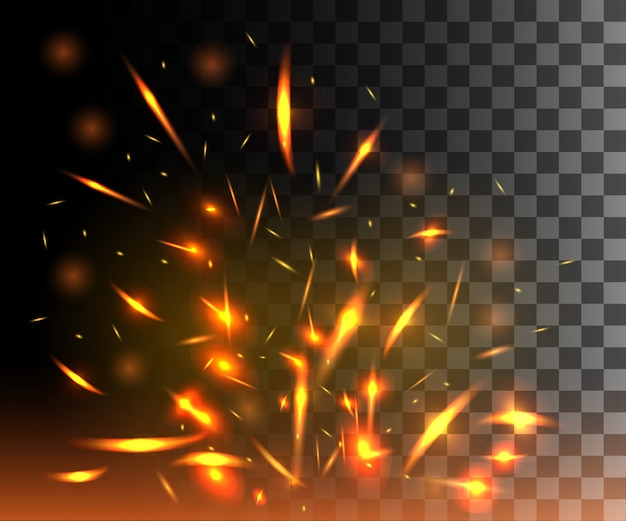 Llama de fuego con chispas que vuelan partículas brillantes sobre fondo transparente oscuro