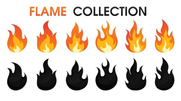 Llama de fuego colección estilo de dibujos animados plana.