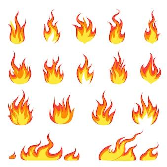 Llama de fuego de dibujos animados. imagen de incendios, ignición de llamas calientes, llamas inflamables explosión de calor llamas concepto de energía