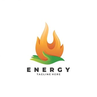 Llama de fuego y logotipo de cuidado de energía de mano