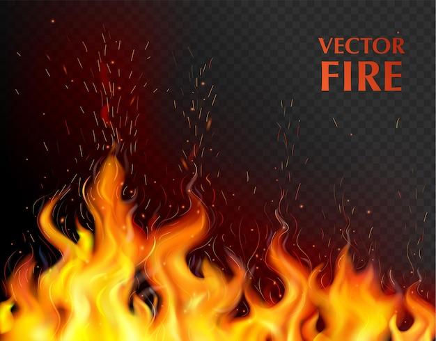 Llama de fuego naranja y realista con llama abierta en ilustración aficionada negra