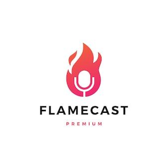 Llama fuego podcast mic logo icono ilustración
