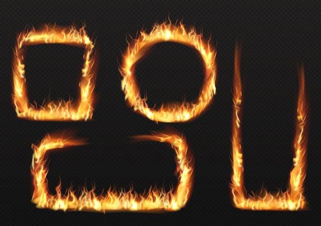 Llama de fuego, quemando marcos de diferentes formas