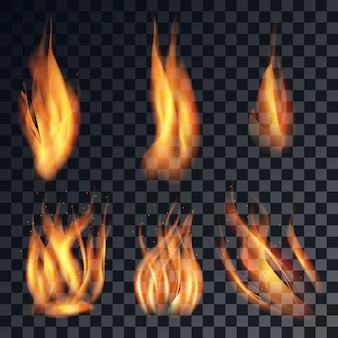 Llama de fuego realista con diferentes formas aisladas y coloreadas sobre fondo negro.