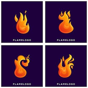 Llama de fuego set logo premium