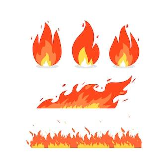 Llama de fuego de varias formas. iconos vectoriales en estilo de dibujos animados. fondo aislado.