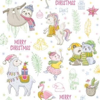 Llama de navidad, perezoso, panda unicornio, patrón sin fisuras de flamenco. doodle animales lindos, dibujo de navidad