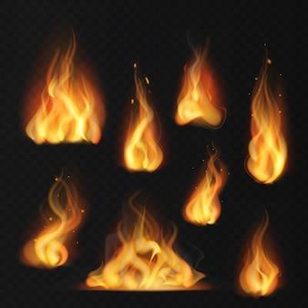 Llama realista. bola de fuego efecto de fuego cálido antorcha abstracta llamas rojas llameante conjunto aislado