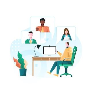 Llamada de conferencia virtual de una reunión de grupo empresarial y trabajo desde casa ilustración