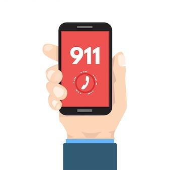 Llamada de emergencia, 911, llamada, teléfono en mano. ilustración.