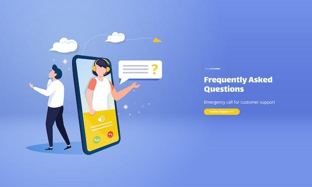 Llamada de emergencia para atención al cliente con el concepto de ilustración de preguntas frecuentes