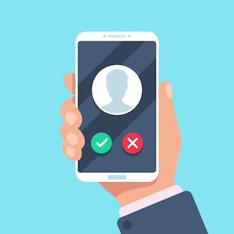 Llamada entrante en la pantalla del teléfono móvil, concepto plano