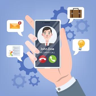 Llamada entrante de la persona en el teléfono móvil. mano que sostiene el teléfono inteligente con el hombre en la pantalla. conexión y comunicación a través de dispositivo digital. tecnología inalámbrica. ilustración
