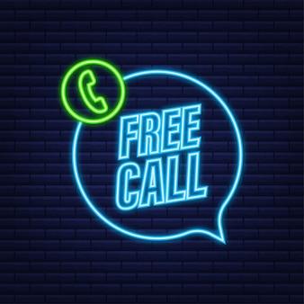 Llamada gratis. tecnologías de la información. icono de neón de teléfono. servicio al cliente. ilustración de stock vectorial.