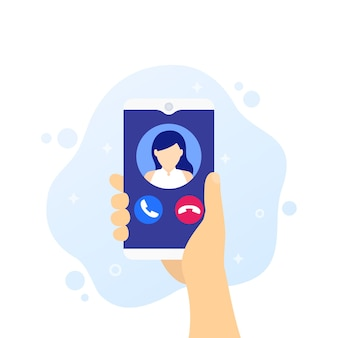 Llamada telefónica, smartphone en vector de mano
