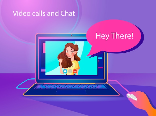 Llamadas de video e ilustración del concepto de chat.