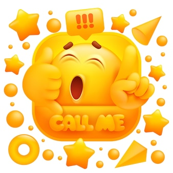 Llámame pegatina carácter emoji amarillo haciendo señal de teléfono.