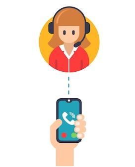Llamar al gerente de servicio desde una ilustración de teléfono móvil