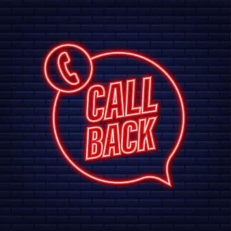 Llamar de vuelta. tecnologías de la información. icono de neón de teléfono. servicio al cliente. ilustración de stock vectorial.