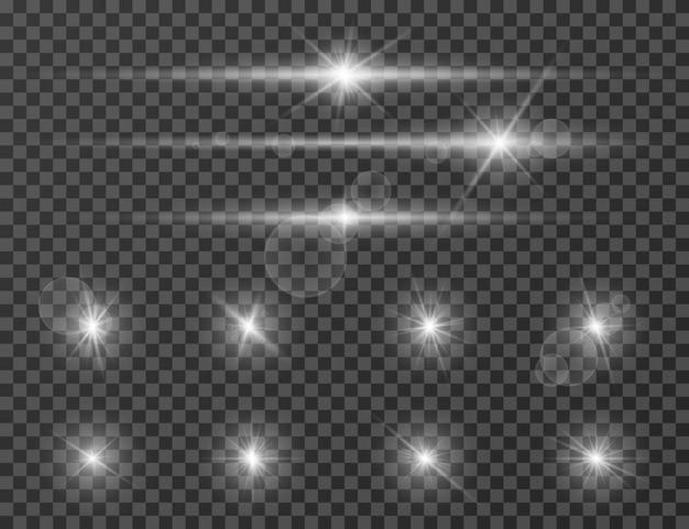 Llamarada de luz. efecto de linterna brillante de lente óptica. brillante flash de la cámara. conjunto de destellos realistas