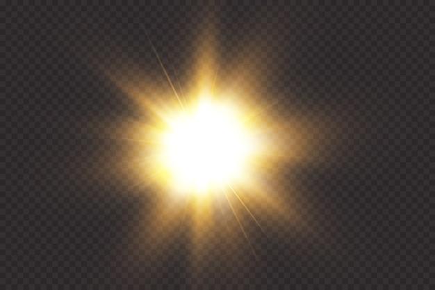 Llamarada solar con rayos y reflector. efecto resplandor la estrella brillaba con destellos.