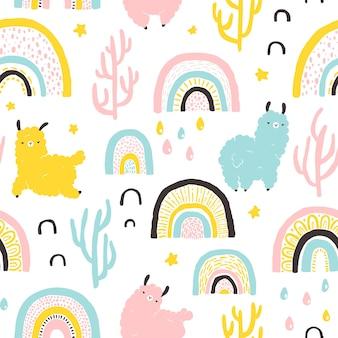 Llamas con arco iris cactus de patrones sin fisuras personaje de dibujos animados