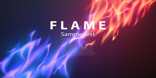 Llamas de fuego ardientes chispas al rojo vivo banner abstracto realista
