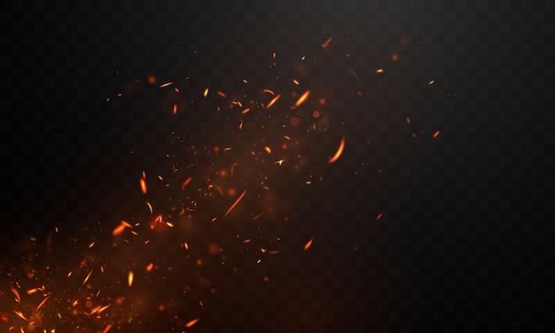 Llamas de fuego ardientes chispas al rojo vivo fondo abstracto realista