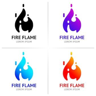 Llamas de fuego con chispas de color conjunto de vectores