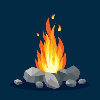 Llamas de fuego de dibujos animados aisladas en azul oscuro