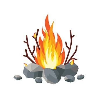 Llamas de fuego de dibujos animados, hoguera, fogata aislada