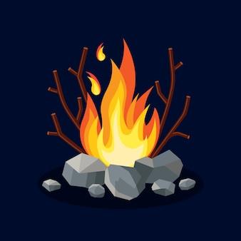 Llamas de fuego de dibujos animados