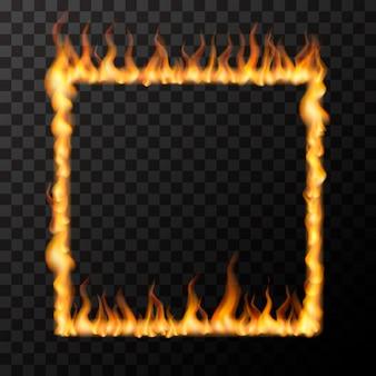 Llamas de fuego realistas brillantes en forma de marco cuadrado, concepto de amor caliente en transparente