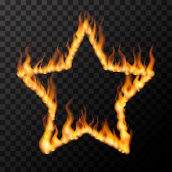 Llamas de fuego realistas brillantes en forma de marco de estrella, concepto de amor caliente en transparente