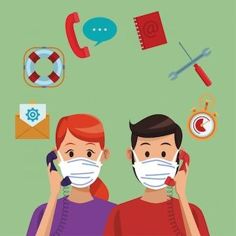 Llame al centro de apoyo a los trabajadores de la pareja con máscara médica