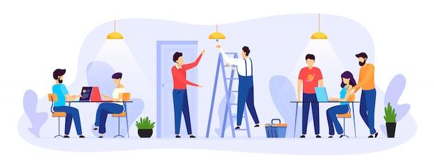 Llame al electricista a la ilustración de la oficina, personaje de reparador plano de dibujos animados trabajando, manitas hacer trabajo técnico aislado en blanco
