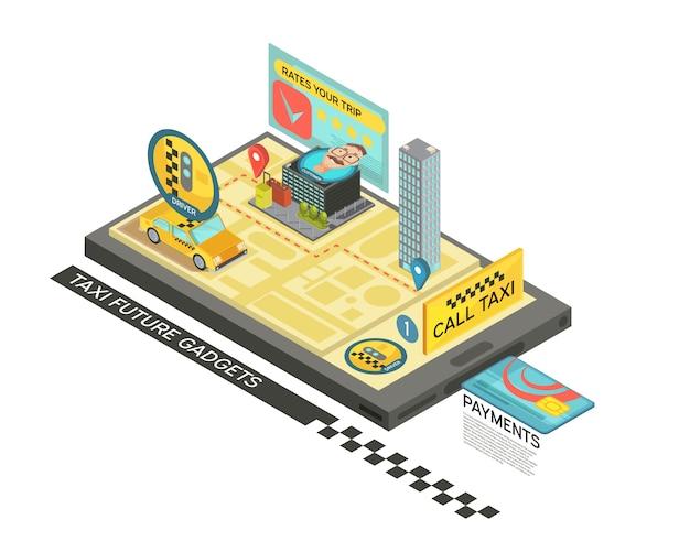 Llame al taxi con el diseño isométrico del dispositivo con el coche, mapa, casas en la ilustración de vector 3d de la pantalla del dispositivo móvil