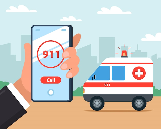 Llame a una ambulancia desde su teléfono móvil. primeros auxilios. ilustración.