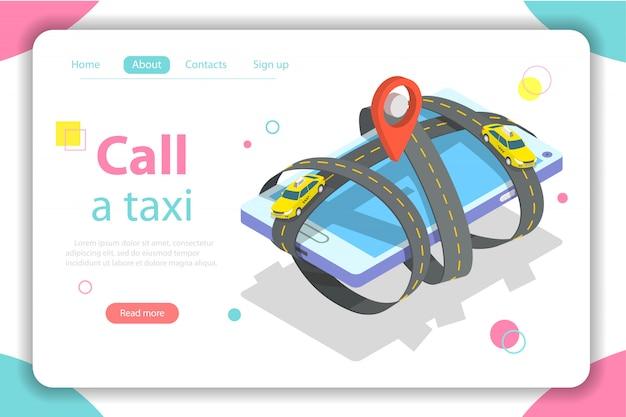 Llame a una plantilla web isométrica plana de taxi.