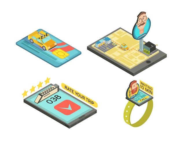 Llame a un taxi con las composiciones isométricas de los gadgets con tarjeta de pago con calificación de viaje en coche, tiempo de espera aislado ilustración vectorial