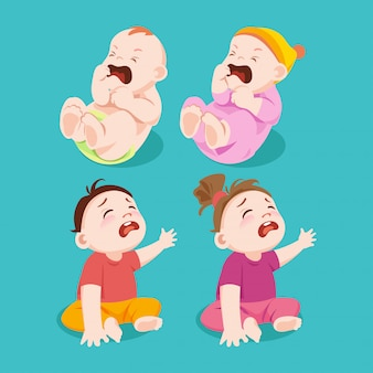 El llanto o la tristeza del bebé y la niña