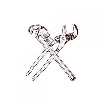 Llave cruzada dibujo a mano grabado