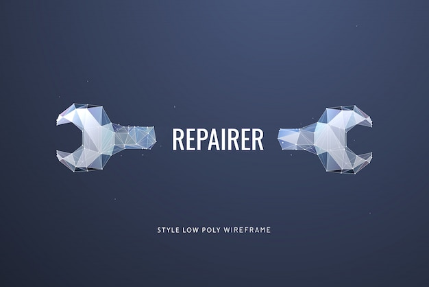 Llave o llave poligonal. concepto de reparación, mantenimiento o configuración.