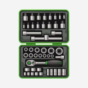 Llave de vaso en caja de herramientas