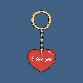 Llavero de oro de dibujos animados con corazón rojo. te quiero.