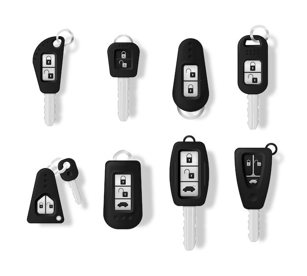 Llaves de coche aisladas sobre fondo blanco. llave del coche y sistema de alarma.