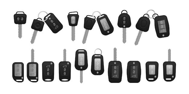 Llaves de coche realista color negro aislado sobre fondo blanco. conjunto de sistema de alarma y vista frontal y trasera de llave electrónica del coche. 3d realista.