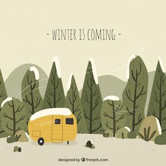 Llega el invierno fondo dibujado a mano con una furgoneta